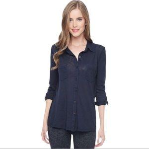 Splendid Slub Jersey Button Down Shirt (S)